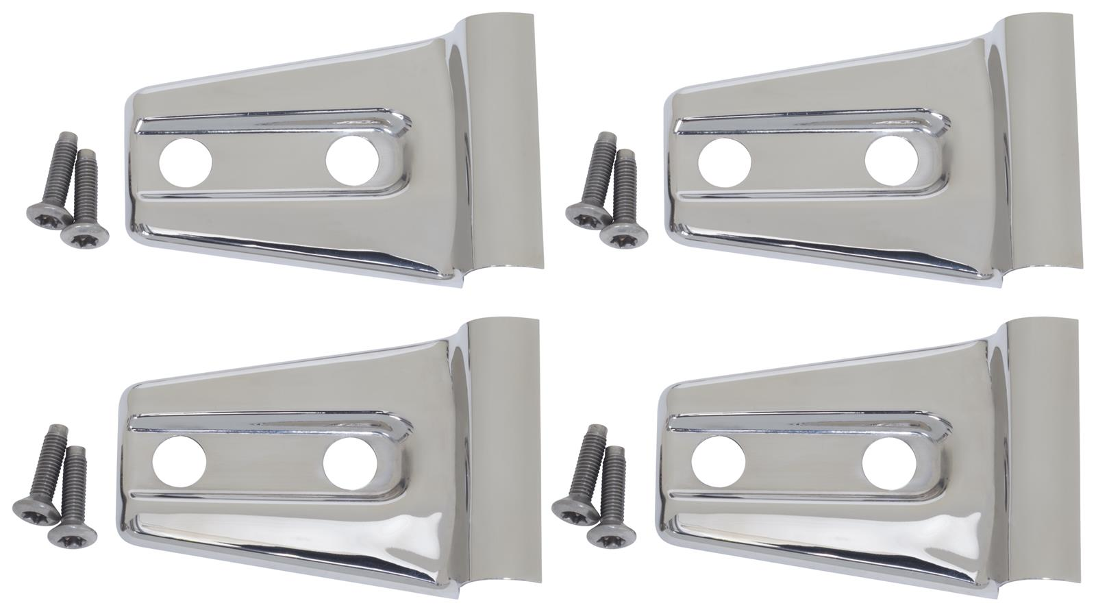 Door Hinge Overlay 4pc 2Dr Polished Stainless for Jeep Wrangler JK 2007-18 30020