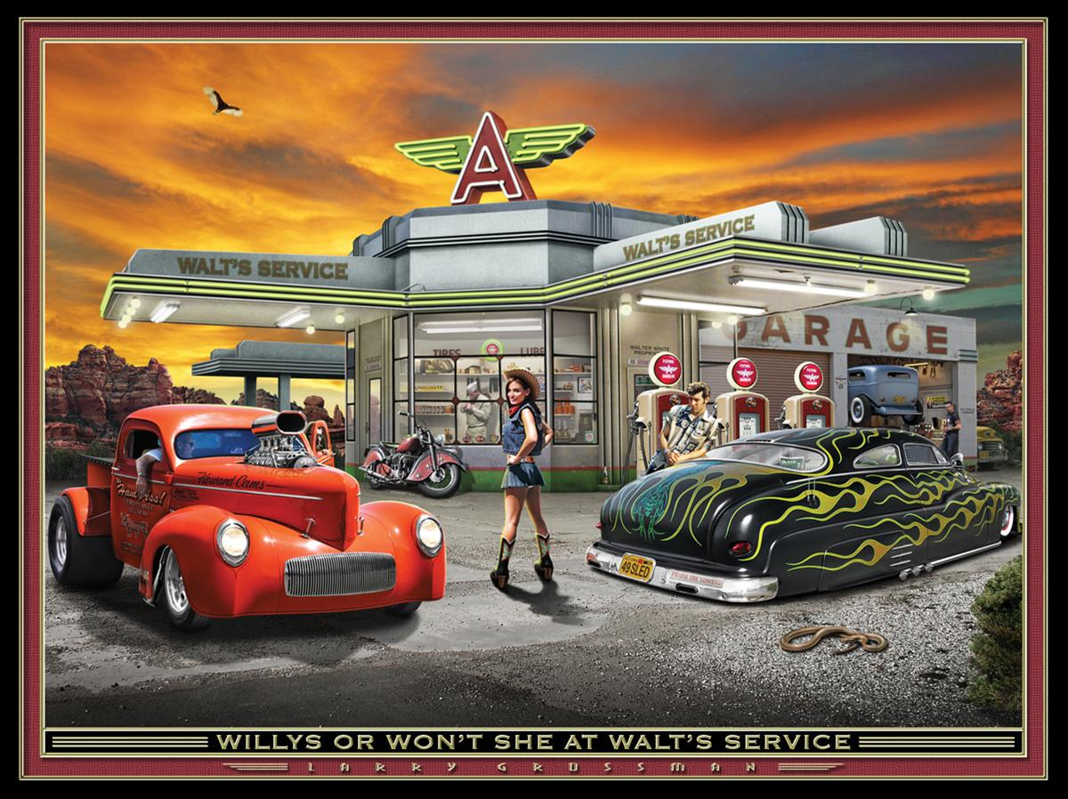 Willys at walt s service lithograph free shipping on for Garage prints