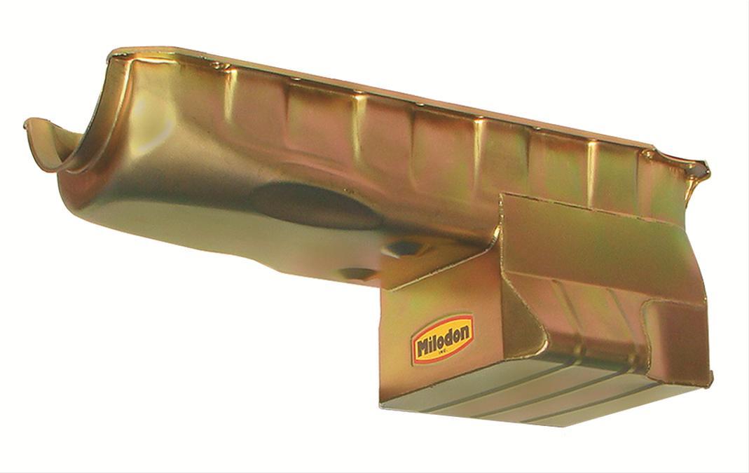 Milodon Oil Pan Street Strip Steel Gold Iridite 7 Qt