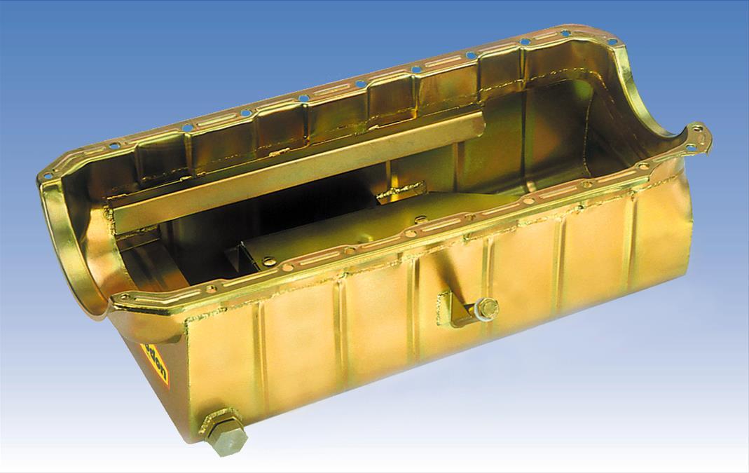 Milodon Oil Pan Steel Gold Iridite 9 Qt Bbc Mark Iv