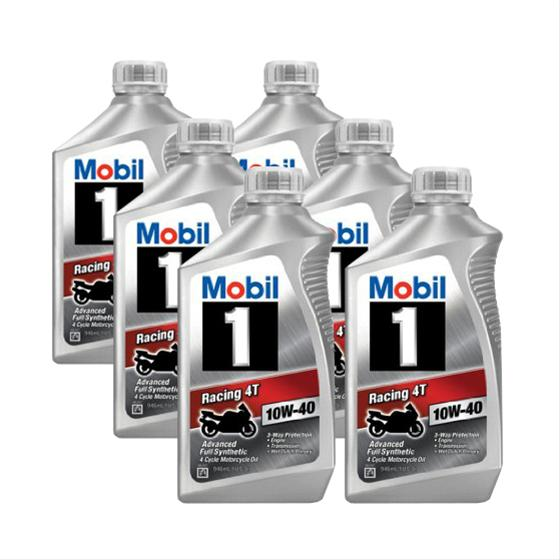 mobil 1 racing 4t 10w40 synthetic motorcycle oil 103436 6. Black Bedroom Furniture Sets. Home Design Ideas