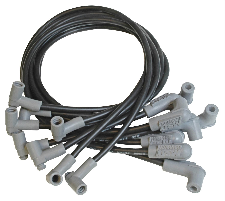 SBC Chevy V8 Universal Black 8.5 mm Spiral Core Spark Plug Wires W//90 Deg Boots