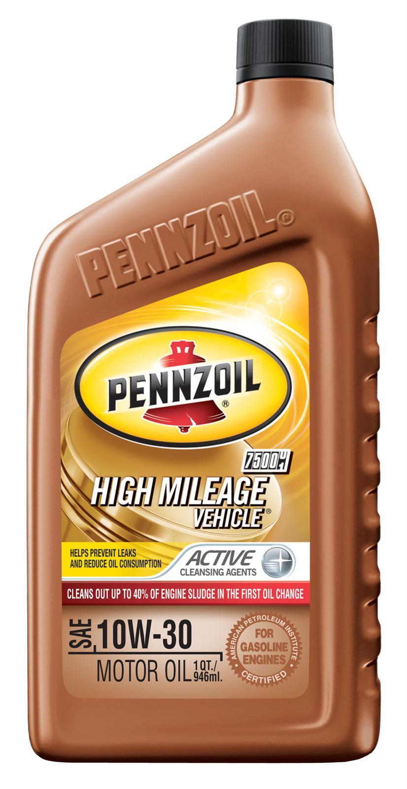 Pennzoil motor oil pennzoil high mileage 10w30 1 quart for What motor oil to use for high mileage engine