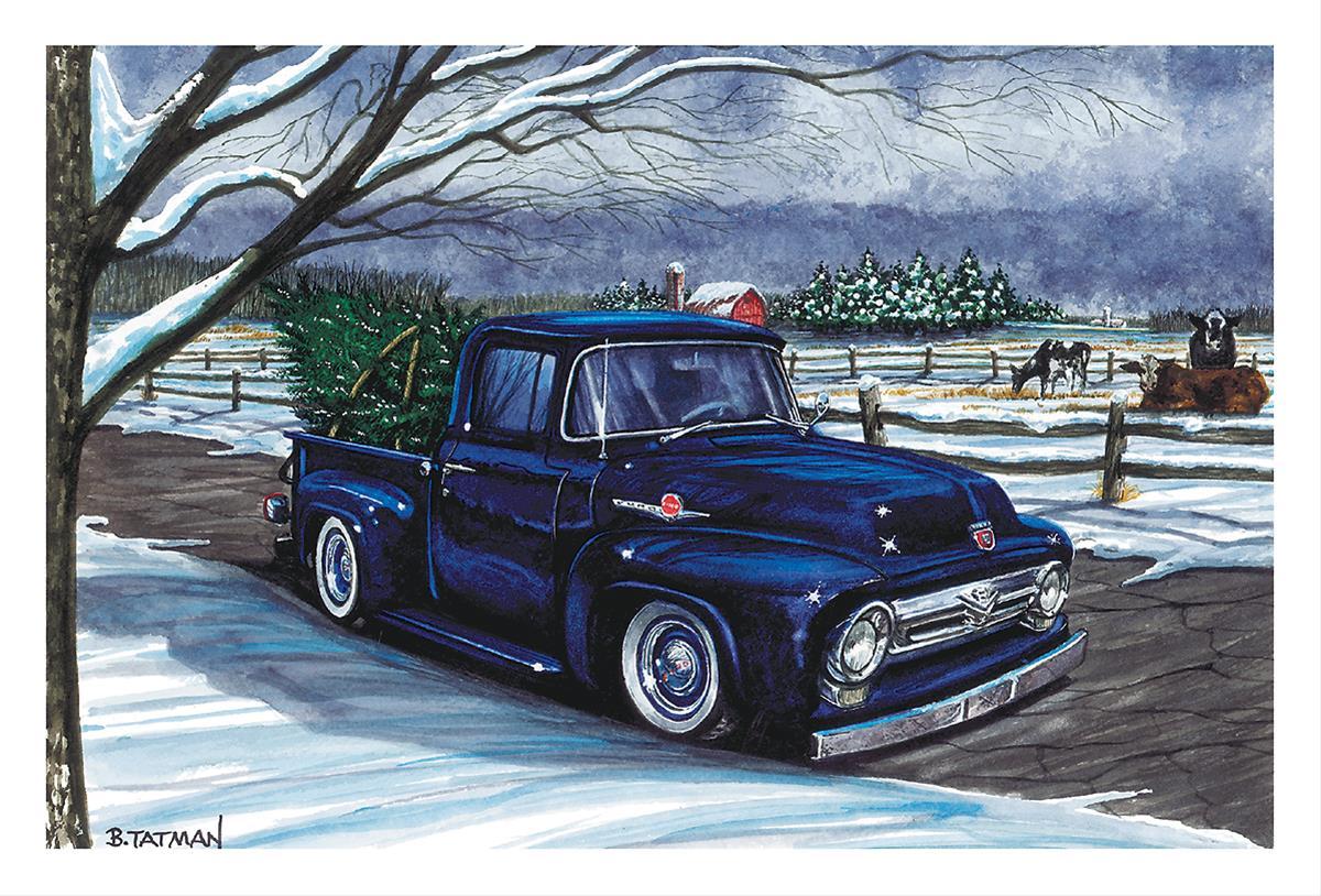 Purple Pickup and Christmas Tree Christmas Cards—Set of 10 CC749 ...