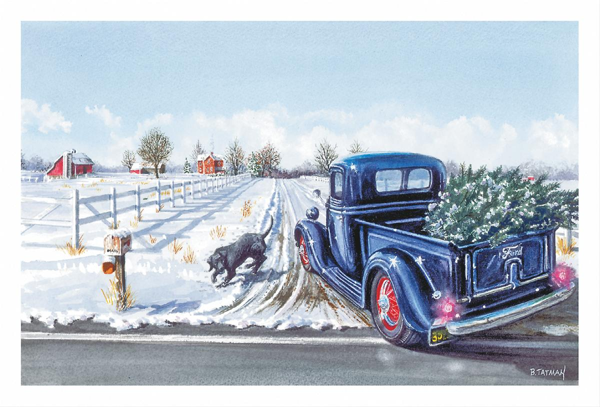 Ford Pickup Truck With Christmas Tree Greeting Cards—Set