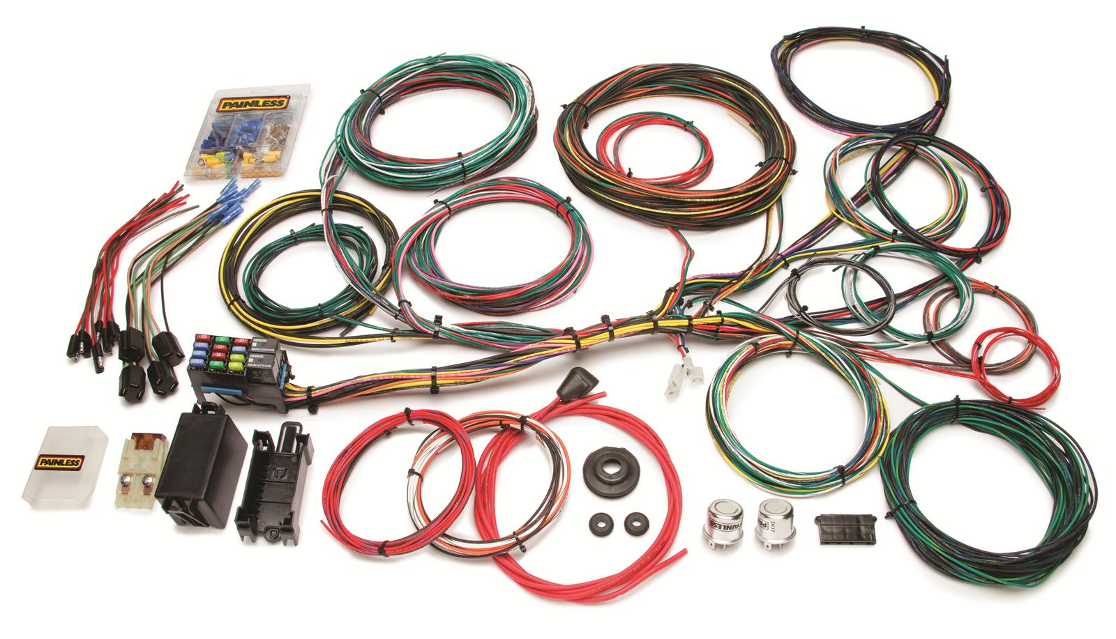 Painless Performance 21-Circuit Ford Color Coded Universal Harnesses on painless switch panel, painless fuse box, painless lt1 harness,
