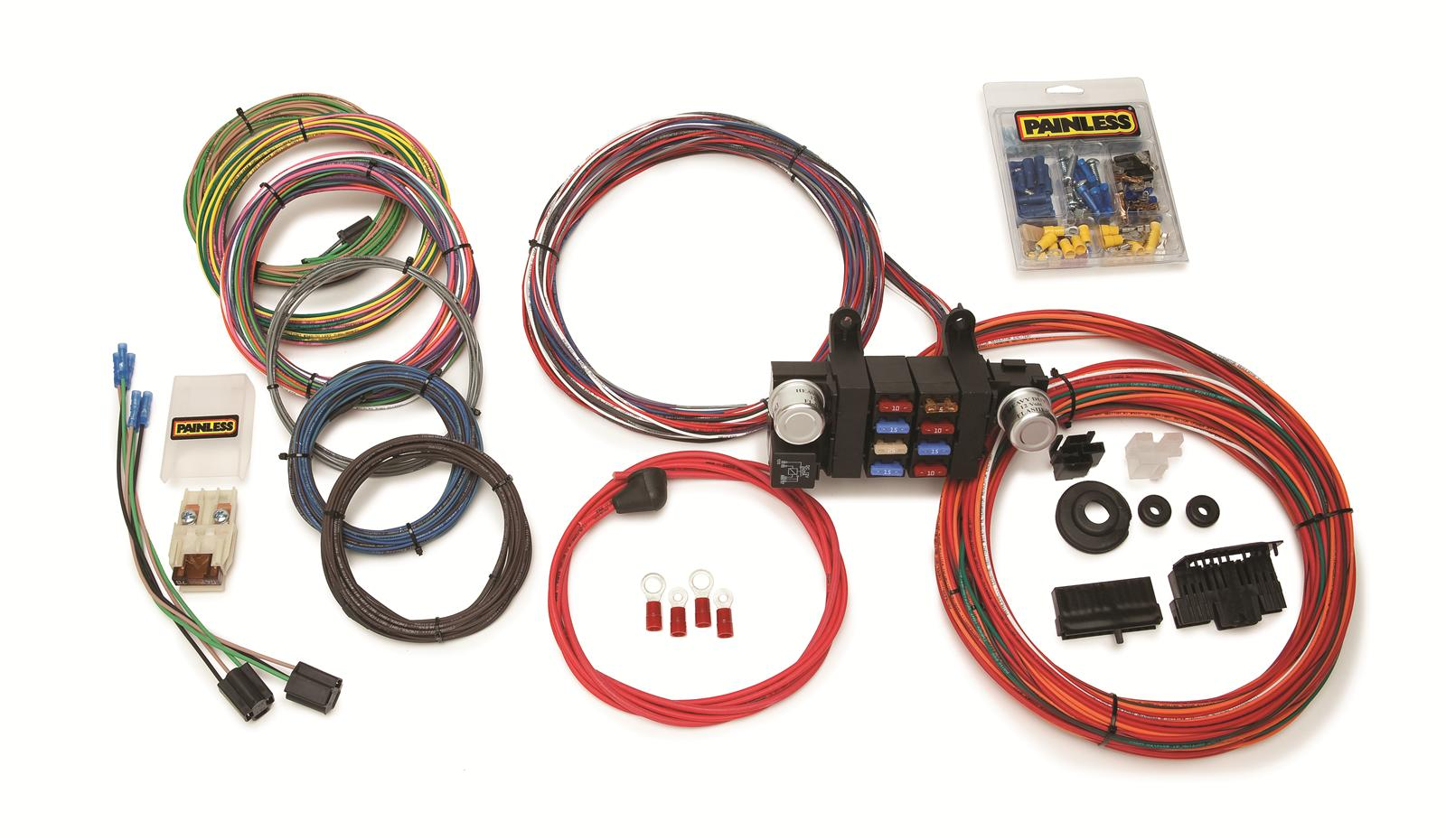 painless performance 18 circuit modular chassis harnesses 10308 rh summitracing com 8 circuit wiring harness with switches rebel wire 8 circuit wiring harness