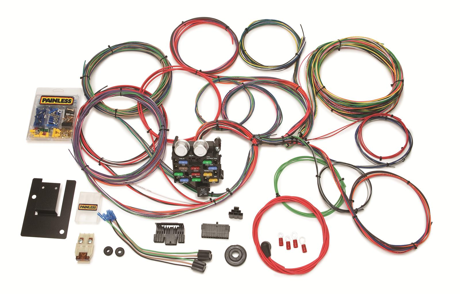 painless performance 21 circuit 1955 57 tri five chevy harnesses rh summitracing com Chrysler Radio Wiring Harness Chrysler Wiring Harness Diagram