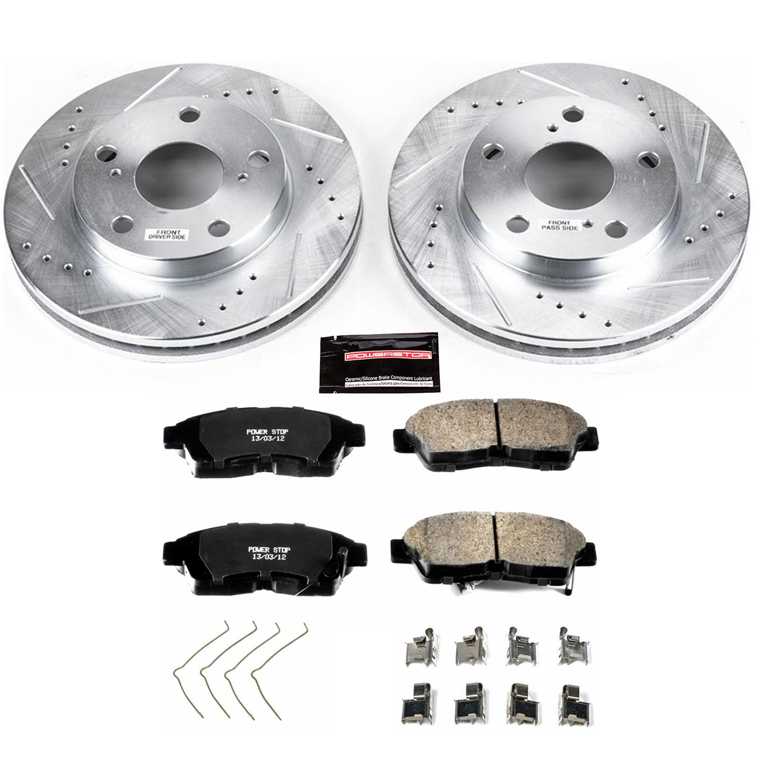 Ceramic Pads C2039 FRONT+REAR KIT Black Hart *DRILLED /& SLOTTED* Brake Rotors