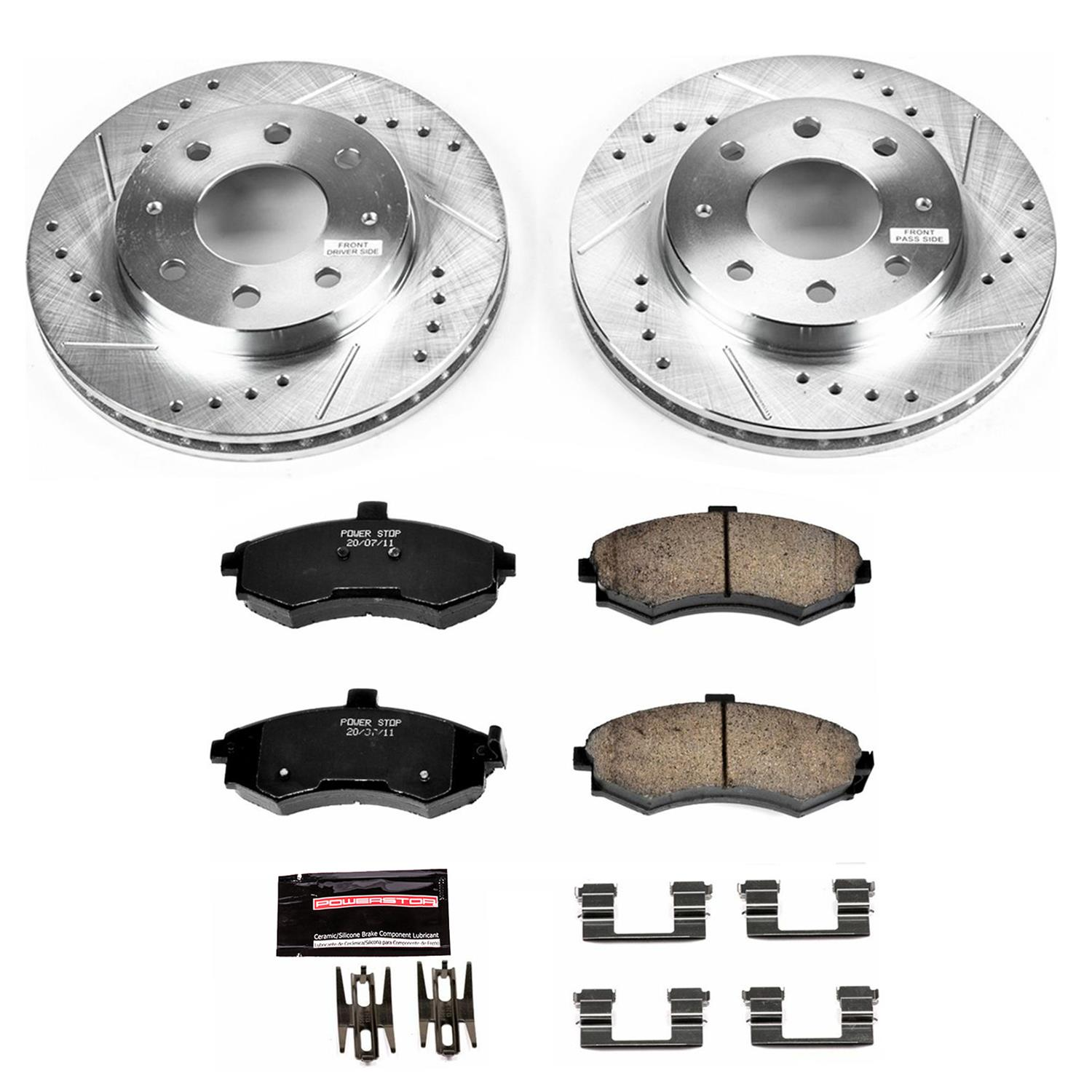 Power Stop K5953 Rear Z23 Evolution Brake Kit with Drilled//Slotted Rotors and Ceramic Brake Pads