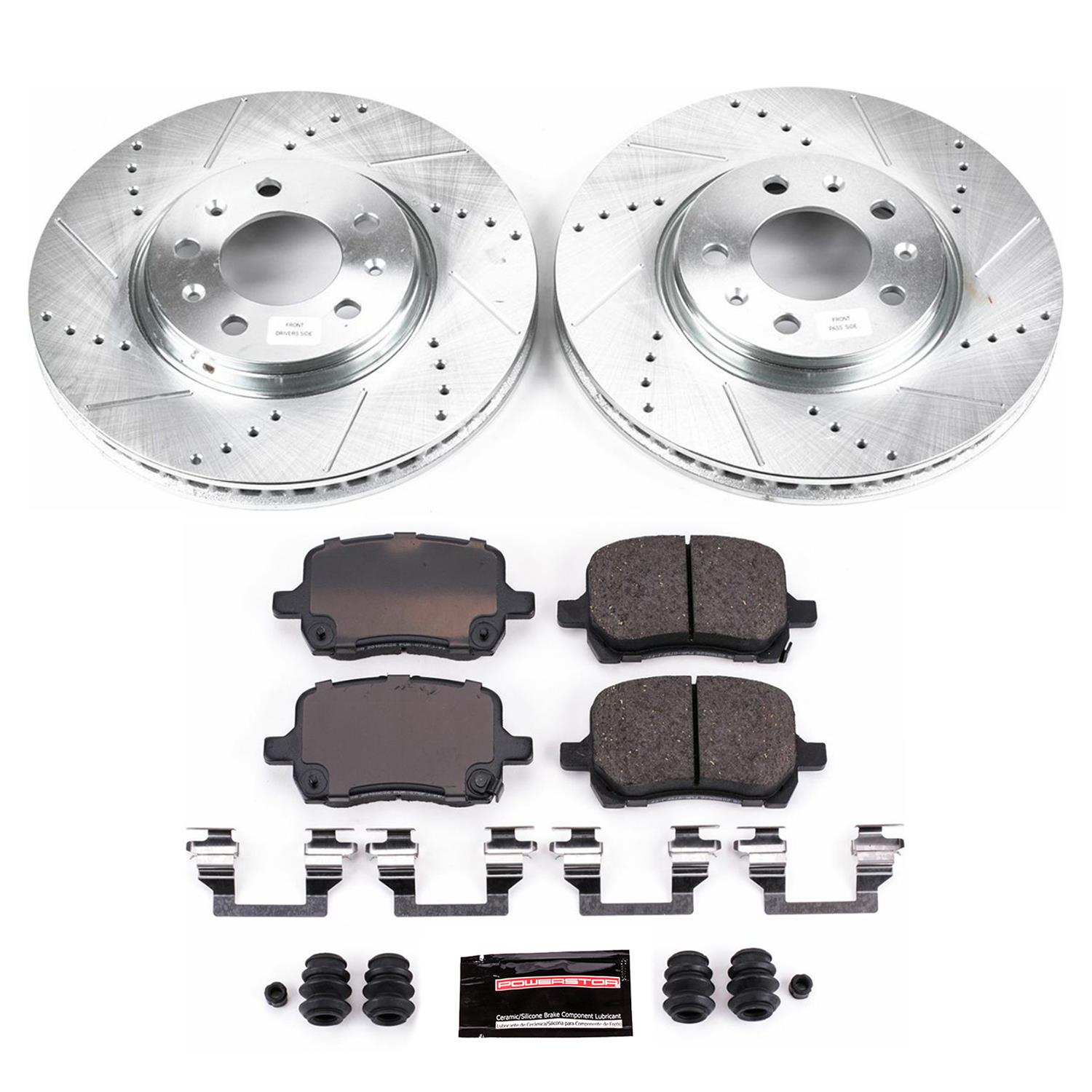 Power Stop K2441 Front//Rear Ceramic Brake Pad and Cross Drilled//Slotted Combo Rotor One-Click Brake Kit