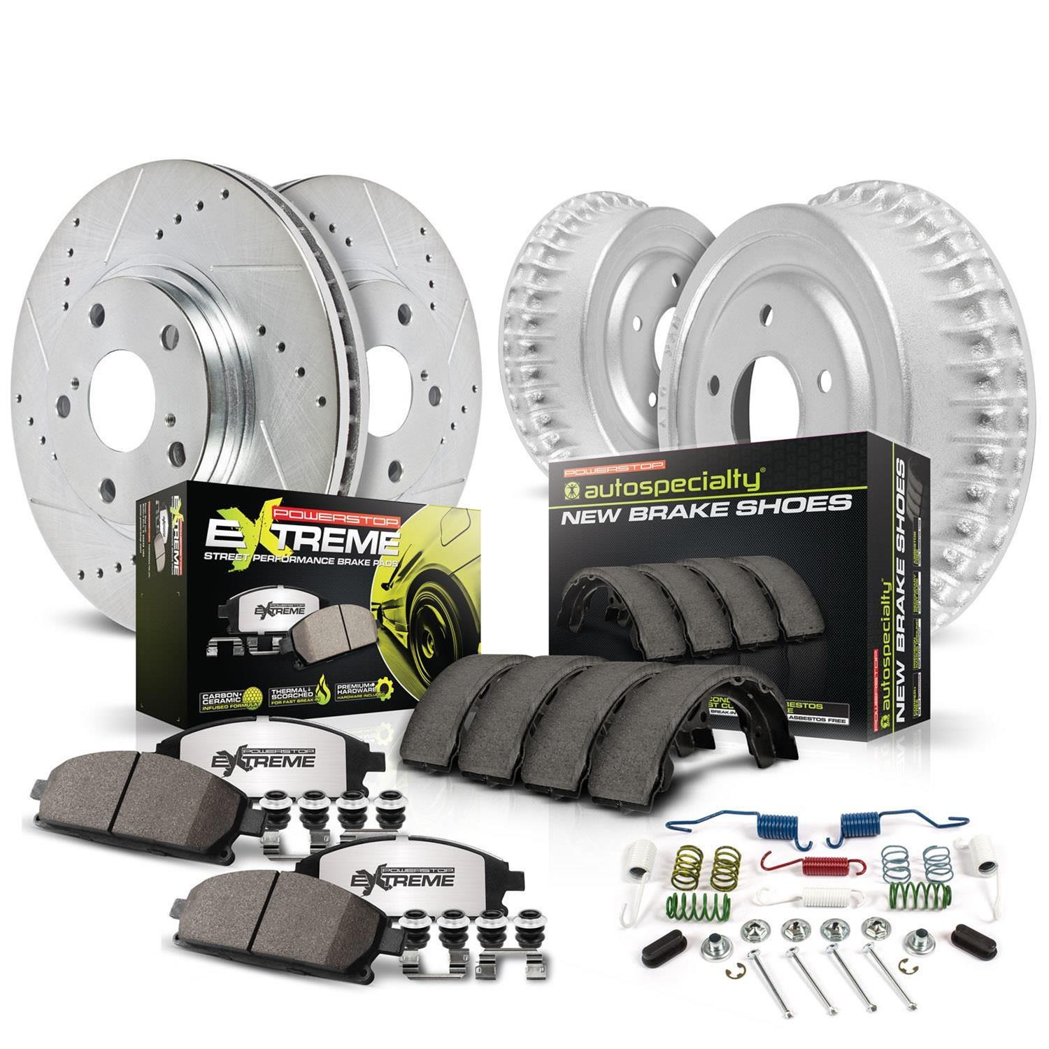 Power Stop K2384 Front Ceramic Brake Pad and Cross Drilled//Slotted Combo Rotor One-Click Brake Kit