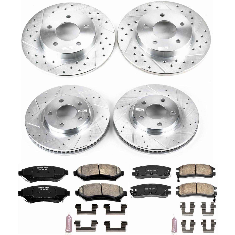 Power Stop K4071 Front /& Rear Brake Kit with Drilled//Slotted Brake Rotors and Z23 Evolution Ceramic Brake Pads
