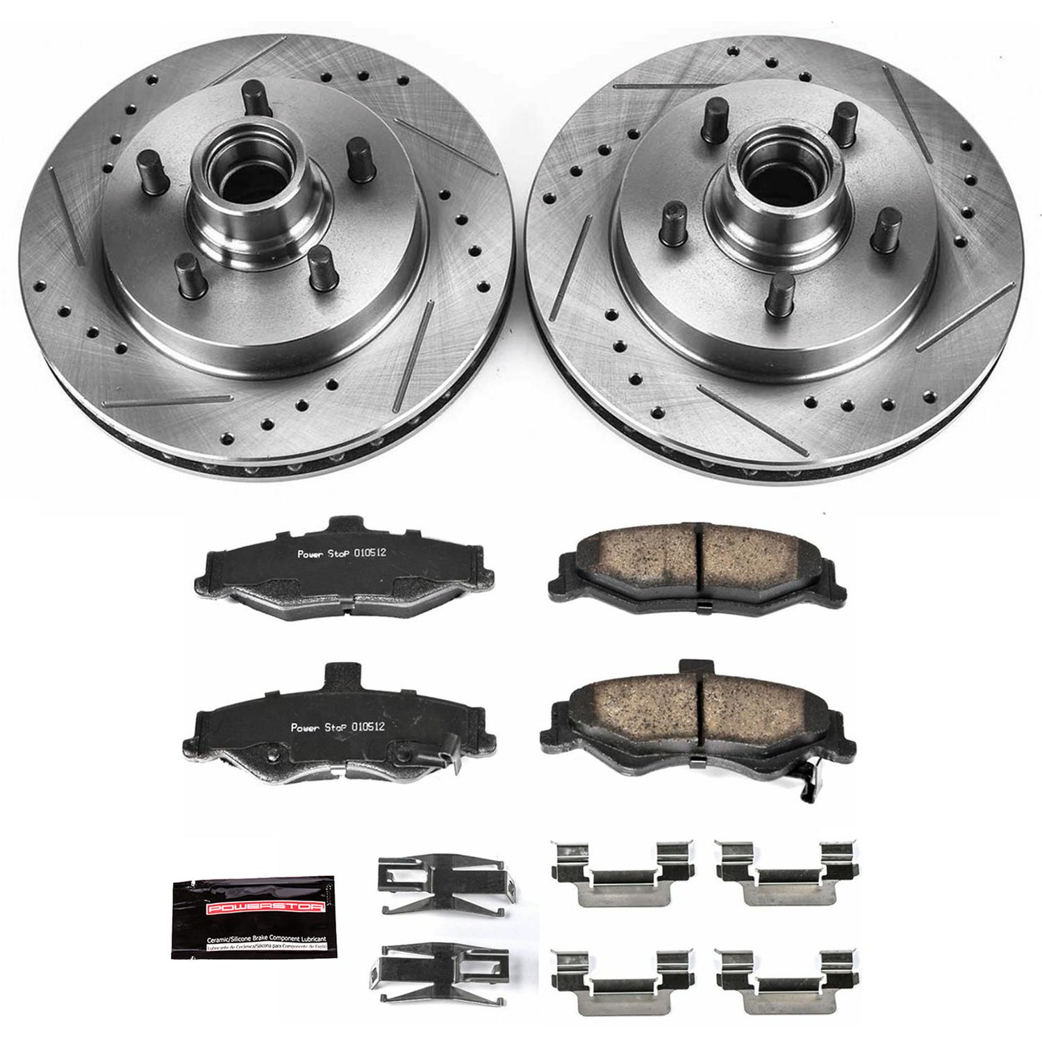 Power Stop K3073 Rear Ceramic Brake Pad and Cross Drilled//Slotted Combo Rotor One-Click Brake Kit
