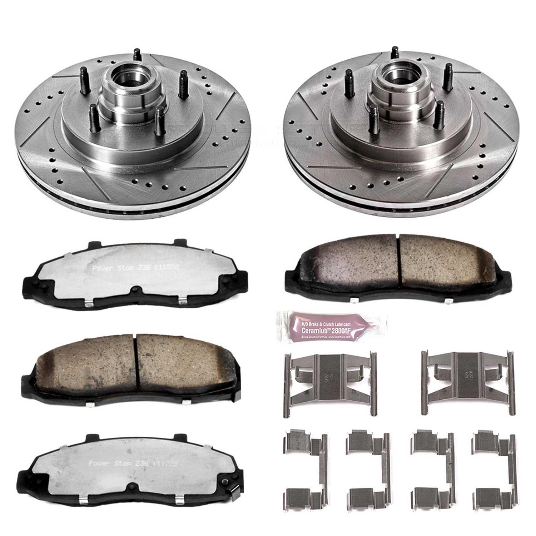 Drilled//Slotted Rotors /& Carbon Fiber Ceramic Brake Pads Power Stop K1866-36,Z36 Truck /& Tow Front Brake Kit