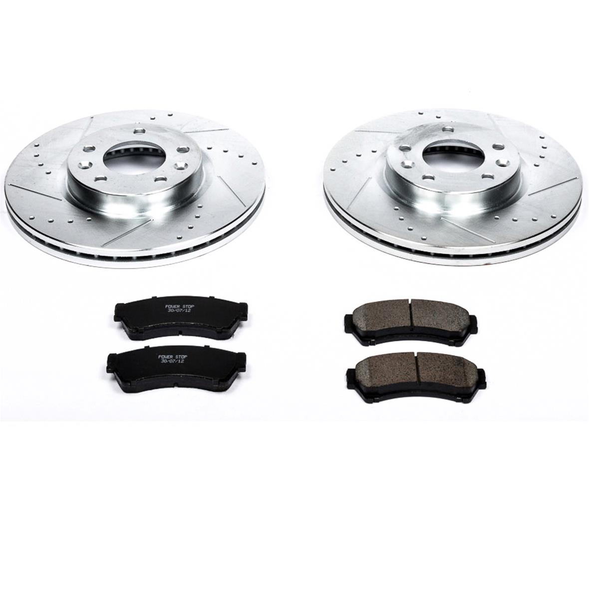 FRONTS Power Sport Cross Drilled Slotted Brake Rotors and Ceramic Brake Pads Kit 80372
