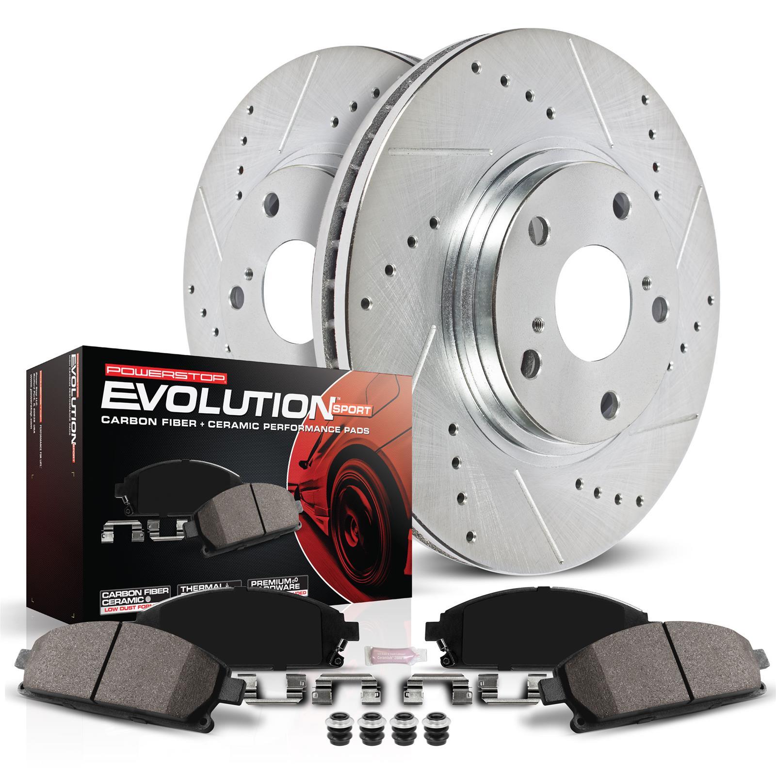 Brake Rotor Material : Power stop brake rotors pads cross drilled slotted kit