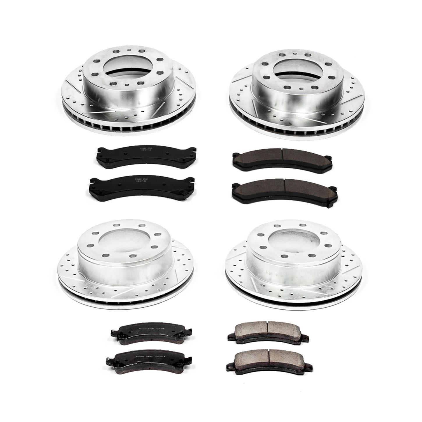 Power Stop K2074 Front and Rear Z23 Evolution Brake Kit with Drilled//Slotted Rotors and Ceramic Brake Pads