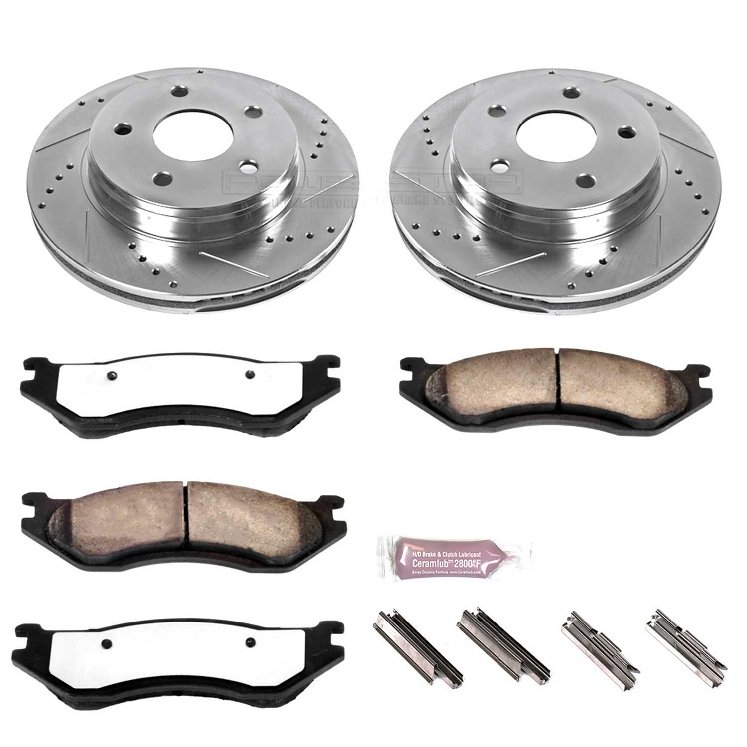 Power Stop K2168-36 Front /& Rear Z36 Truck and Tow Brake Kit
