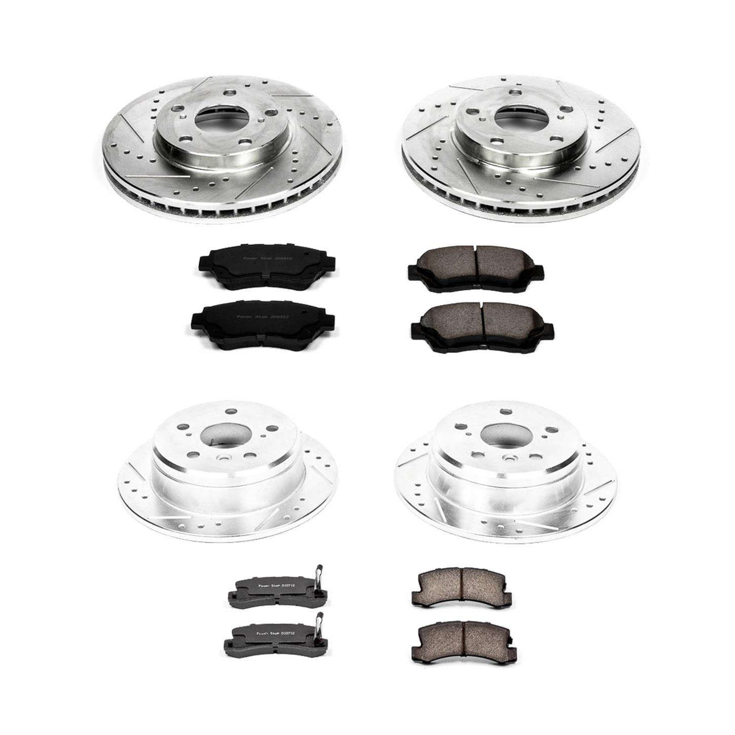 Power Stop K1084 Rear Z23 Evolution Brake Kit with Drilled//Slotted Rotors and Ceramic Brake Pads