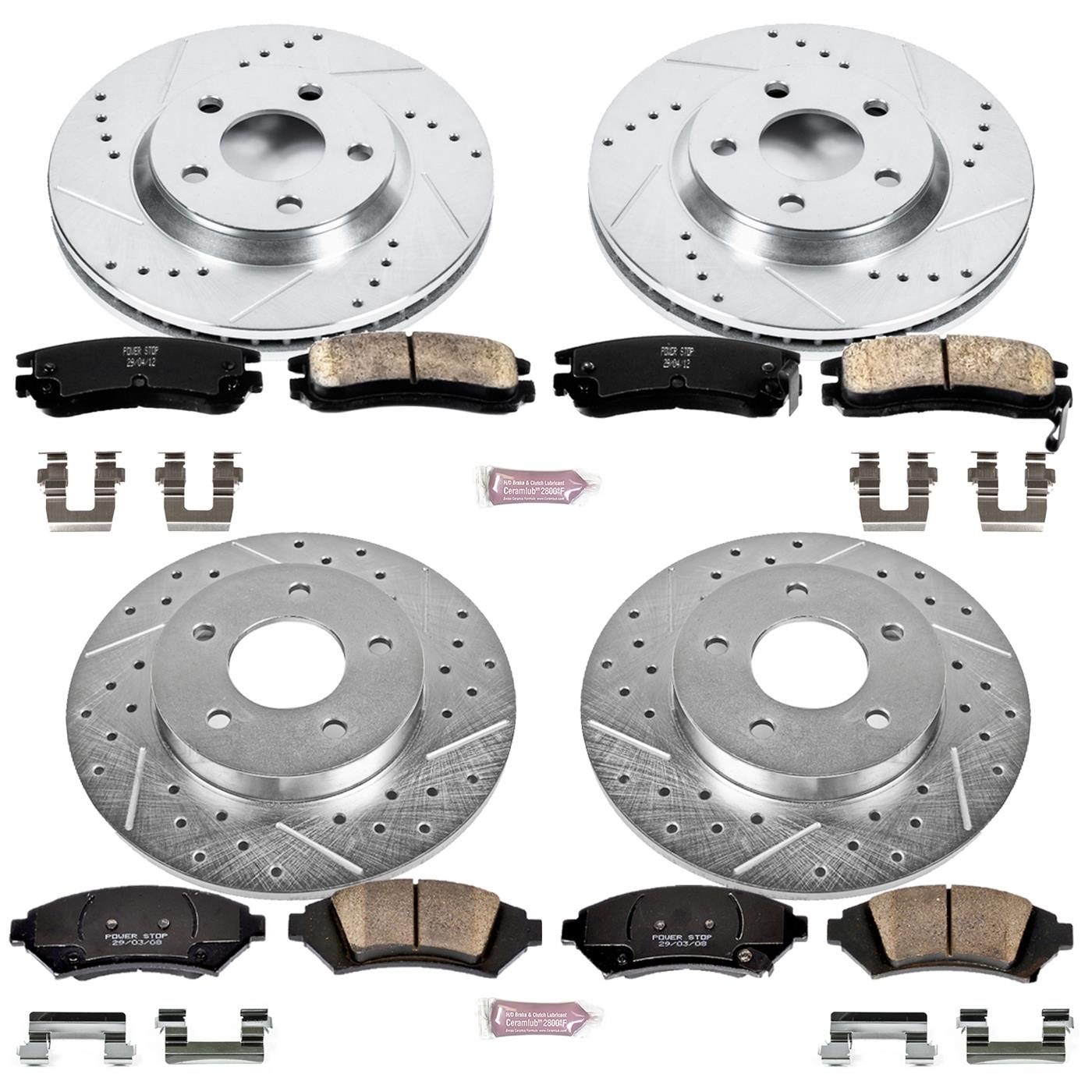 Power Stop K1526 Rear Ceramic Brake Pad and Cross Drilled//Slotted Combo Rotor One-Click Brake Kit