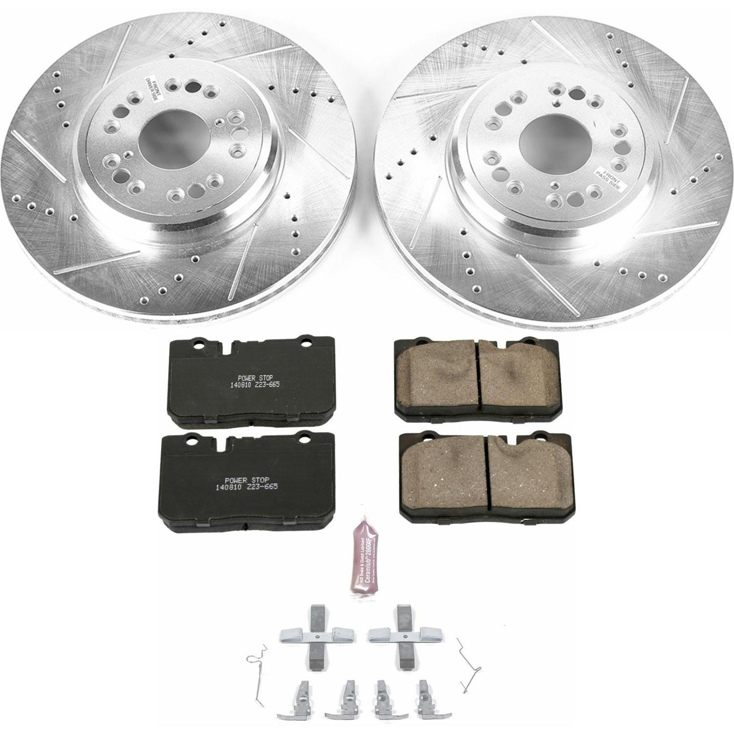 Power Stop K3134 Rear Z23 Evolution Brake Kit with Drilled//Slotted Rotors and Ceramic Brake Pads