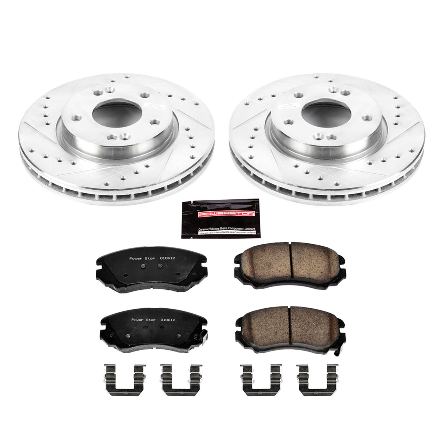 Power Stop K5210 Rear Z23 Evolution Brake Kit with Drilled//Slotted Rotors and Ceramic Brake Pads