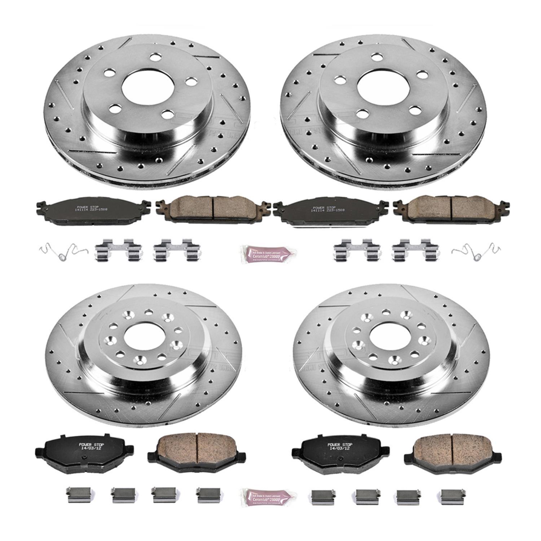 Power Stop K4492 Front /& Rear Brake Kit with Drilled//Slotted Brake Rotors and Z23 Evolution Ceramic Brake Pads