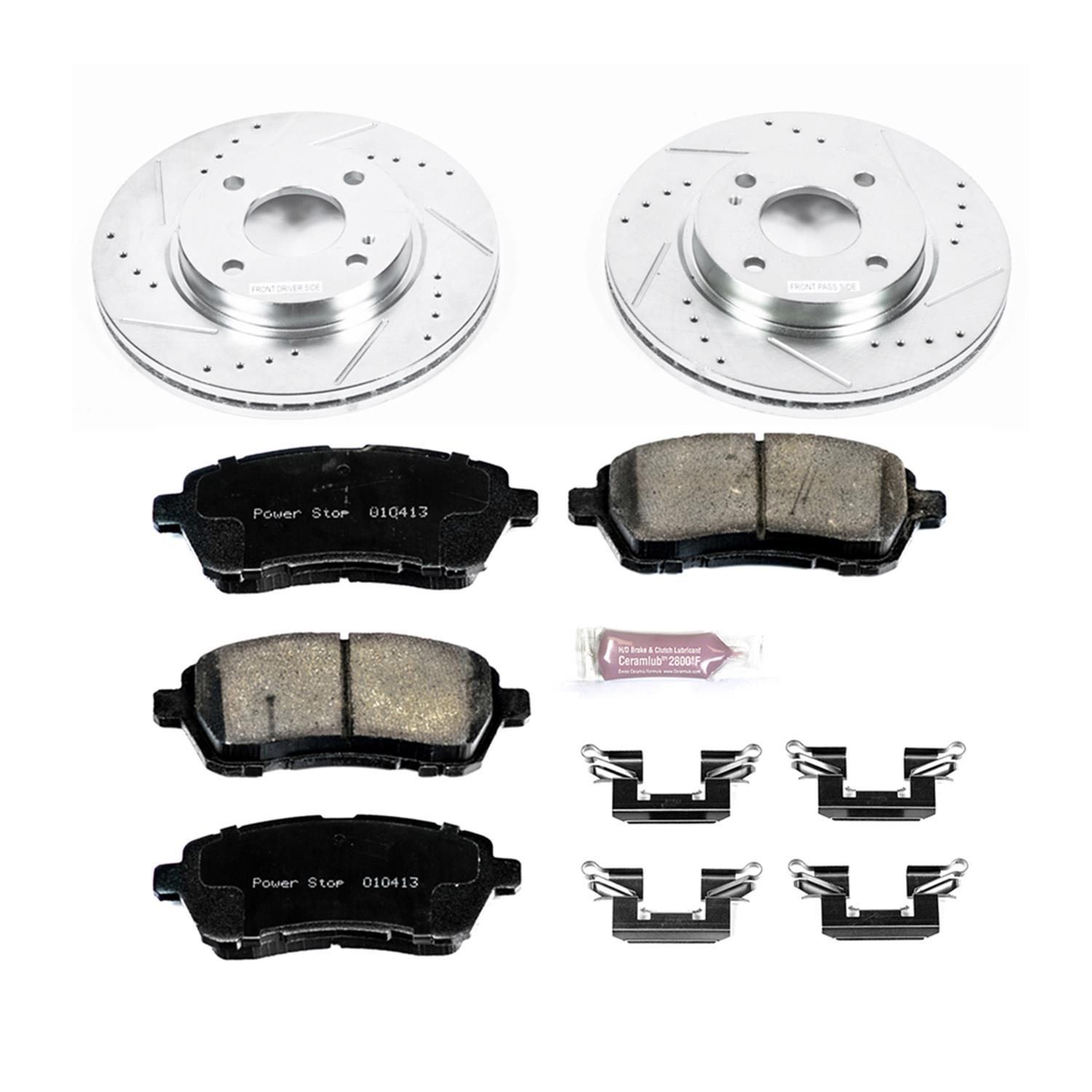 Power Stop KC2329 Rear Z23/Evolution/Sport Brake Upgrade Kit with Powder Coated Calipers