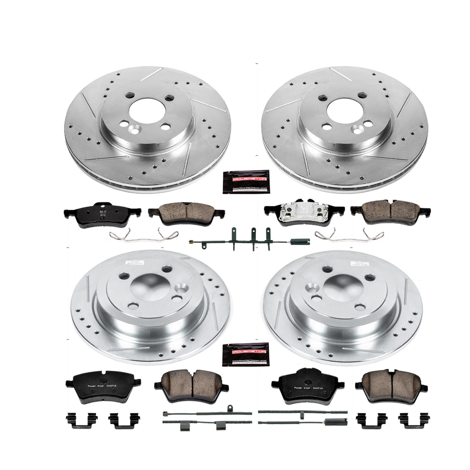 Power Stop K1122 Front /& Rear Brake Kit with Drilled//Slotted Brake Rotors and Z23 Evolution Ceramic Brake Pads
