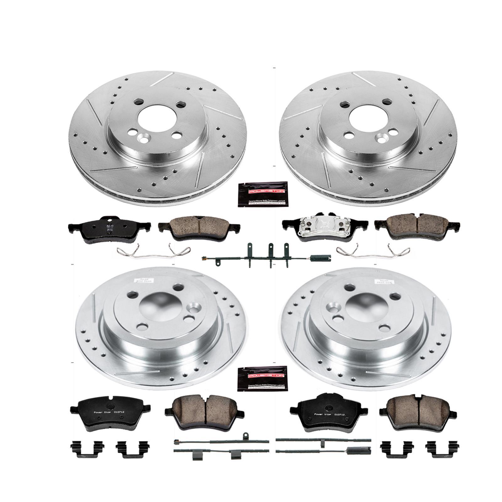 Power Stop K4033 Front /& Rear Brake Kit with Drilled//Slotted Brake Rotors and Z23 Evolution Ceramic Brake Pads