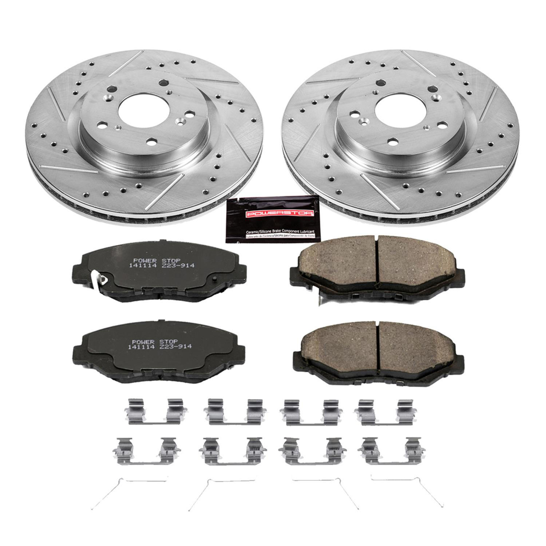Power Stop K5432 Front Brake Kit with Drilled//Slotted Brake Rotors and Z23 Evolution Ceramic Brake Pads