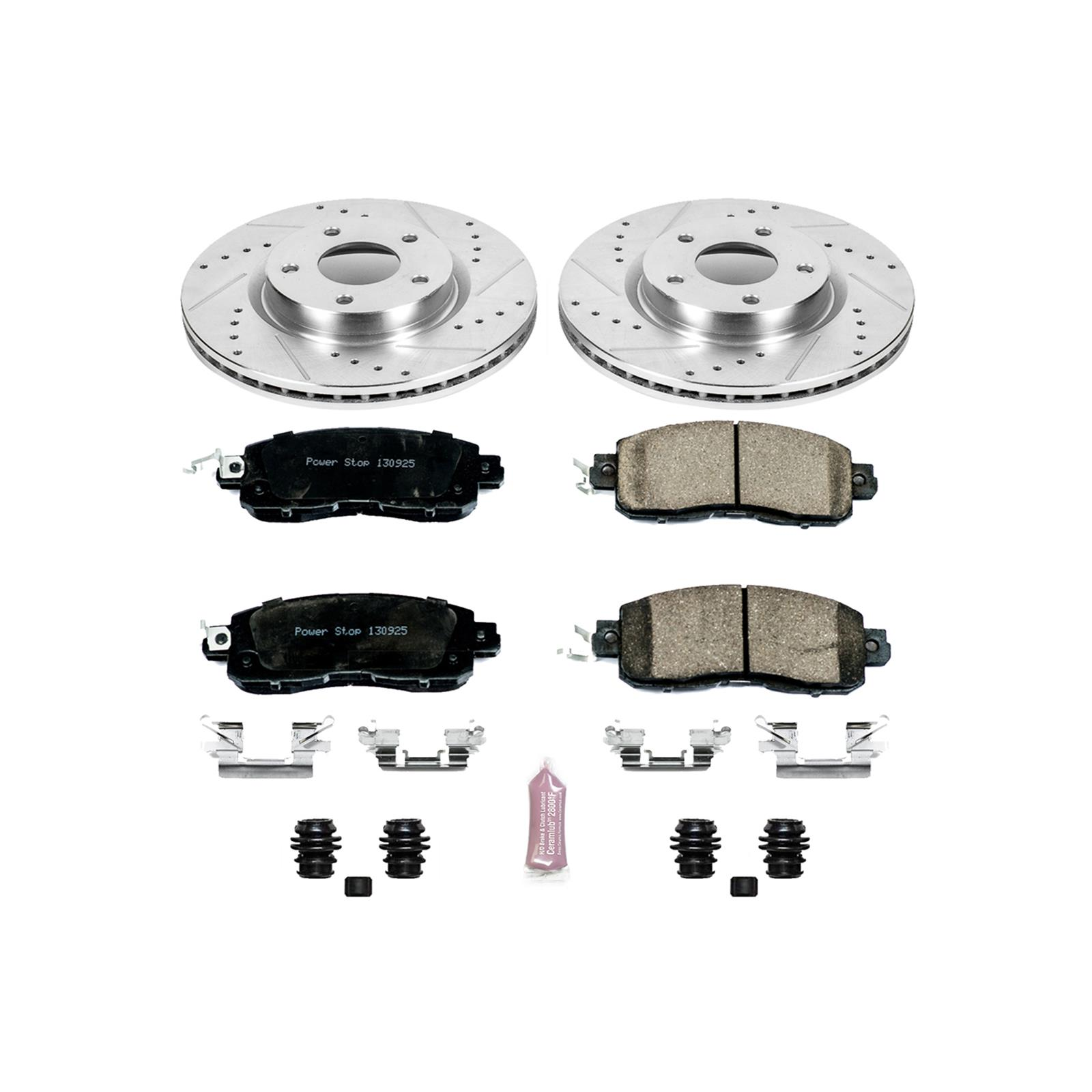 Power Stop K3076 Front Ceramic Brake Pad and Cross Drilled//Slotted Combo Rotor One-Click Brake Kit
