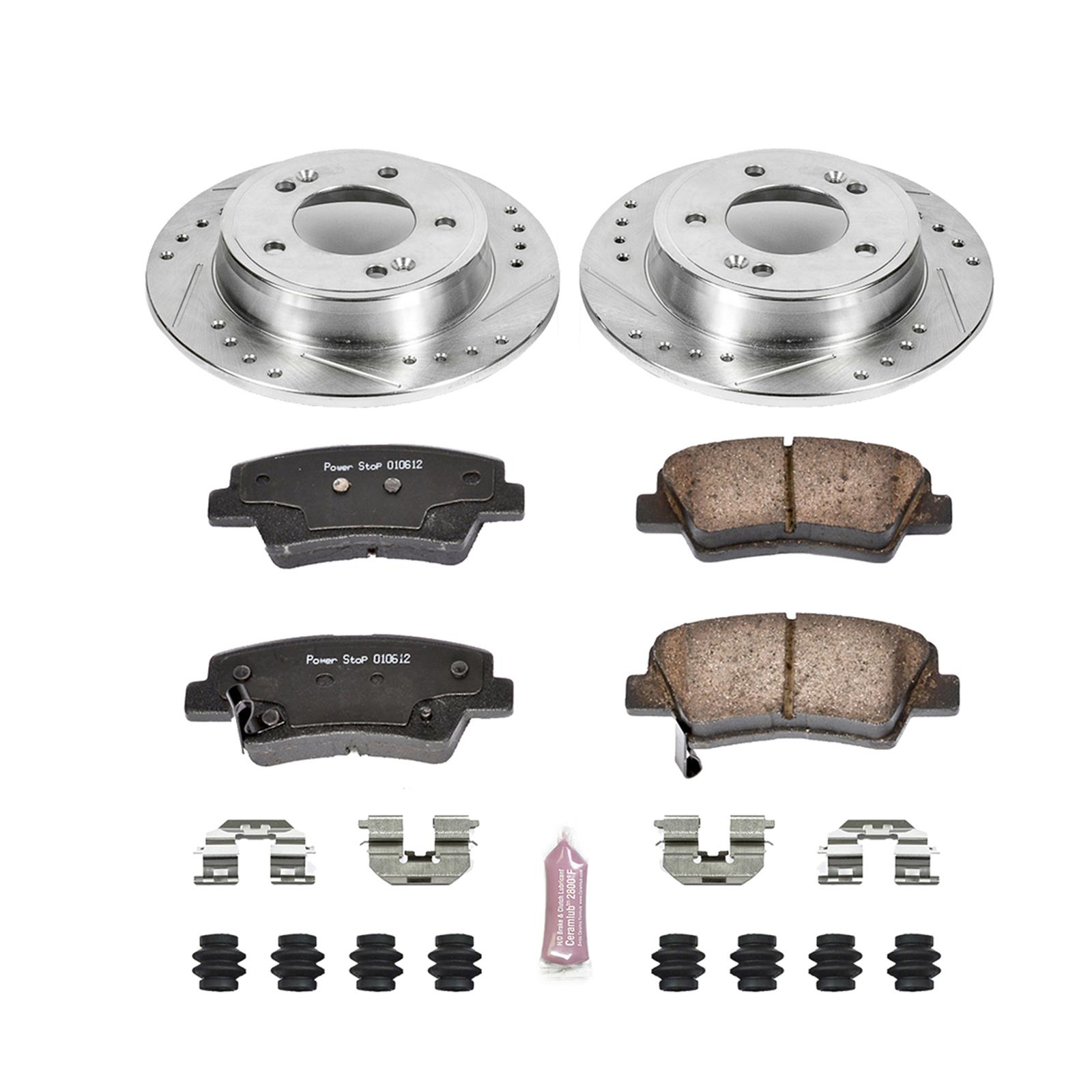 Power Stop K6528 Front Z23 Evolution Brake Kit with Drilled//Slotted Rotors and Ceramic Brake Pads
