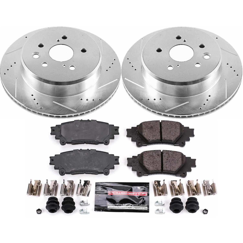 Power Stop K6513 Front /& Rear Brake Kit with Drilled//Slotted Brake Rotors and Z23 Evolution Ceramic Brake Pads
