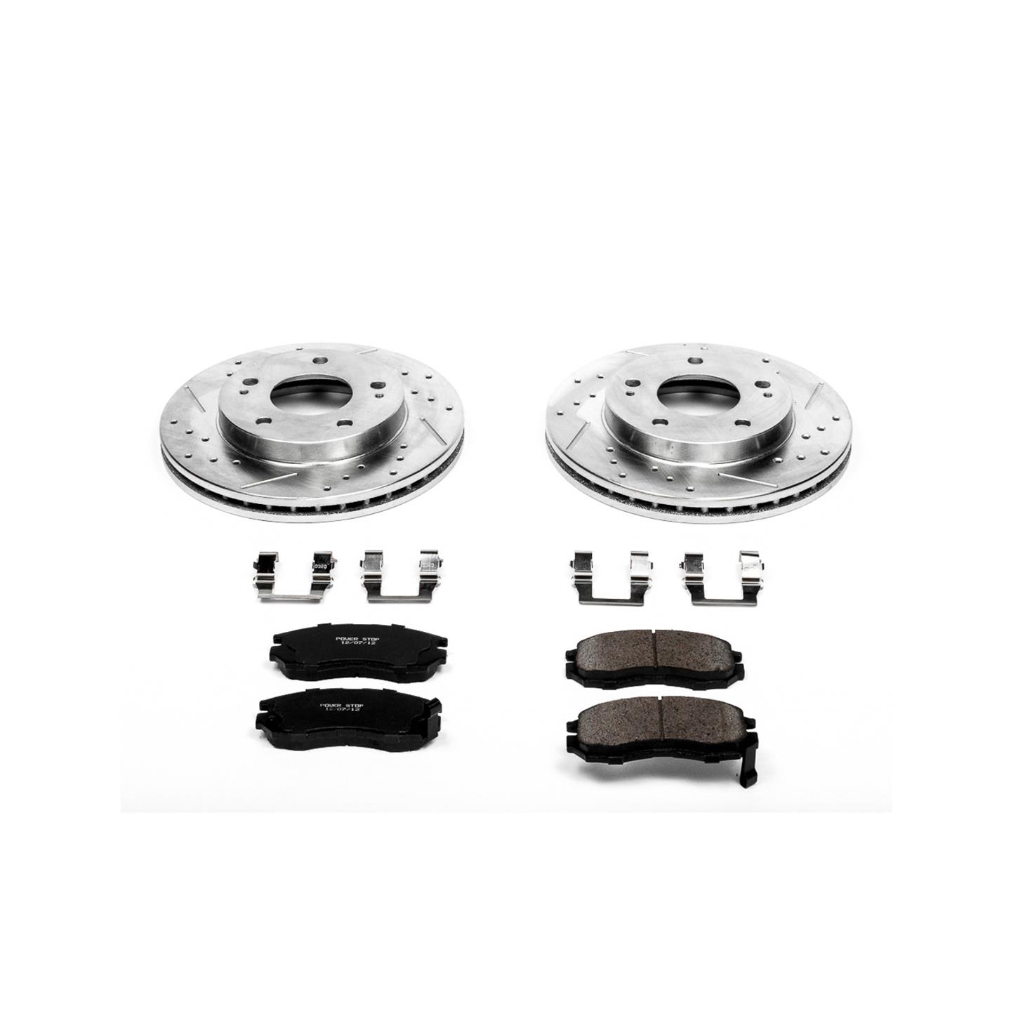 Power Stop K798 Front Ceramic Brake Pad and Cross Drilled//Slotted Combo Rotor One-Click Brake Kit