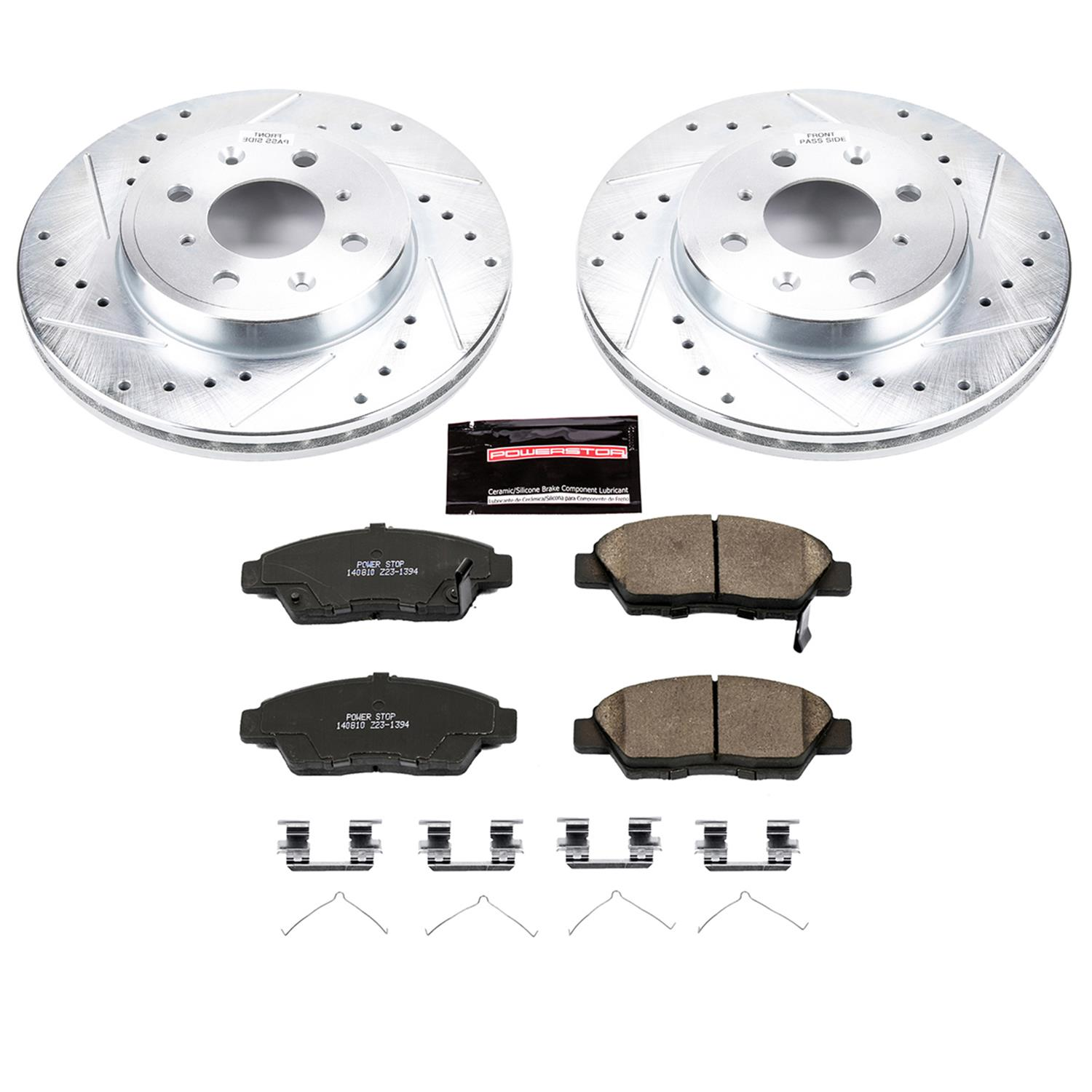 Front Power Stop CRK6386 Coated Brake Rotor and Ceramic Brake Pads