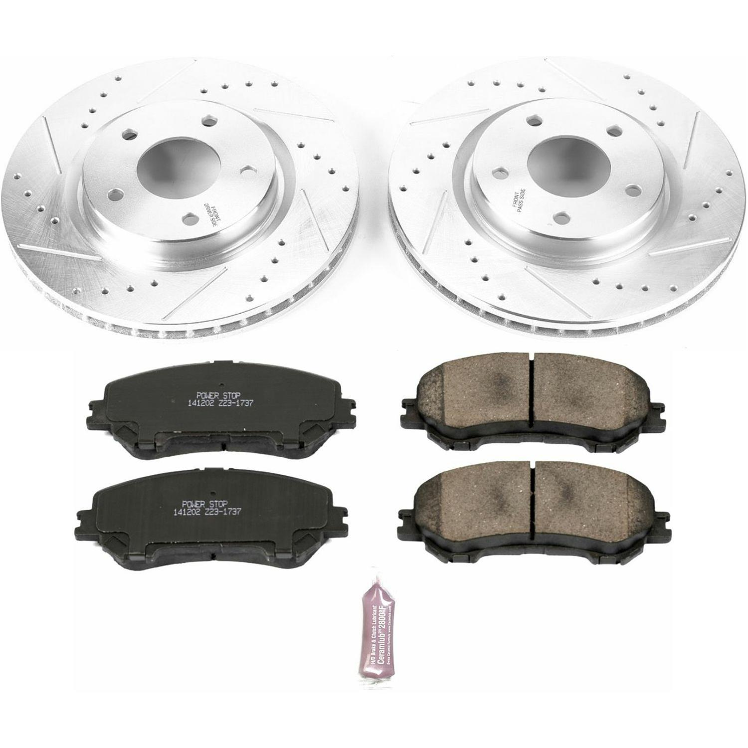 Power Stop K7035 Front /& Rear Brake Kit with Drilled//Slotted Brake Rotors and Z23 Evolution Ceramic Brake Pads