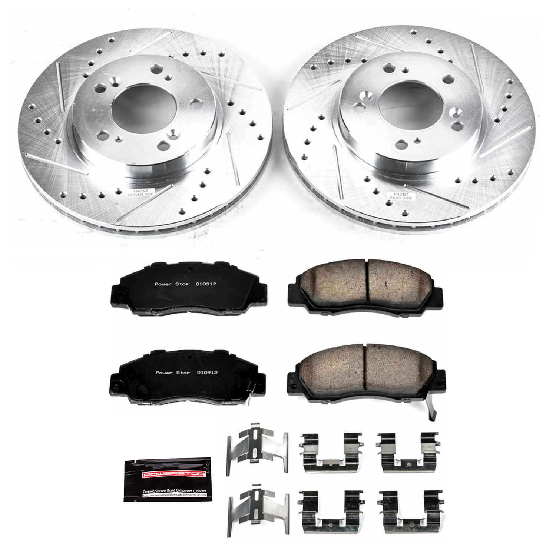 Power Stop K1353 Front Brake Kit with Drilled//Slotted Brake Rotors and Z23 Evolution Ceramic Brake Pads
