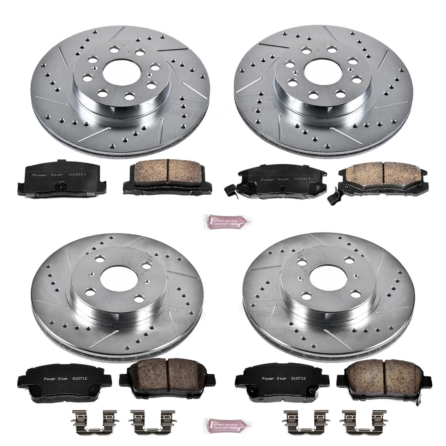 Power Stop K1860 Front Ceramic Brake Pad and Cross Drilled//Slotted Combo Rotor One-Click Brake Kit