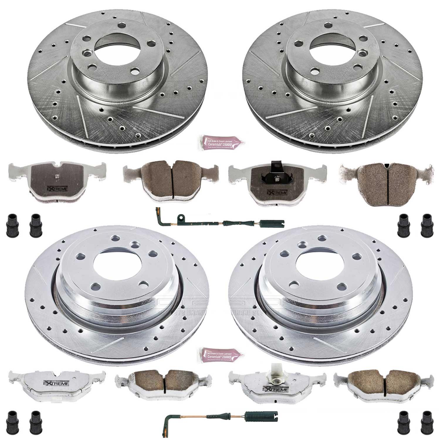 Power Stop K946 Front and Rear Z23 Carbon Fiber Brake Pads with Drilled /& Slotted Brake Rotors Kit