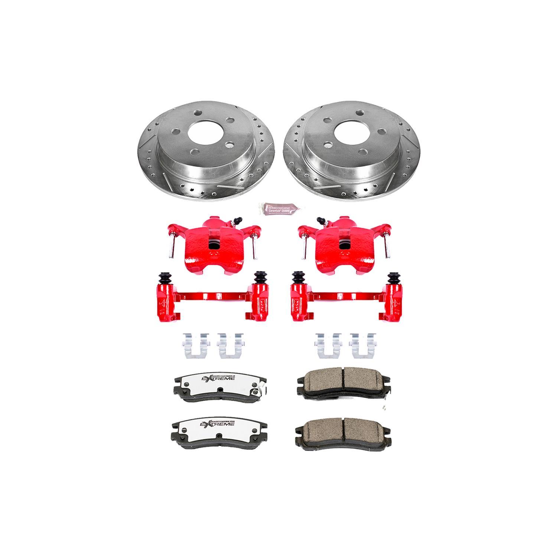 Carbon-Fiber Ceramic Pads Power Stop Z23 Evolution KC7864 Rear Kit Rotors Brake Calipers