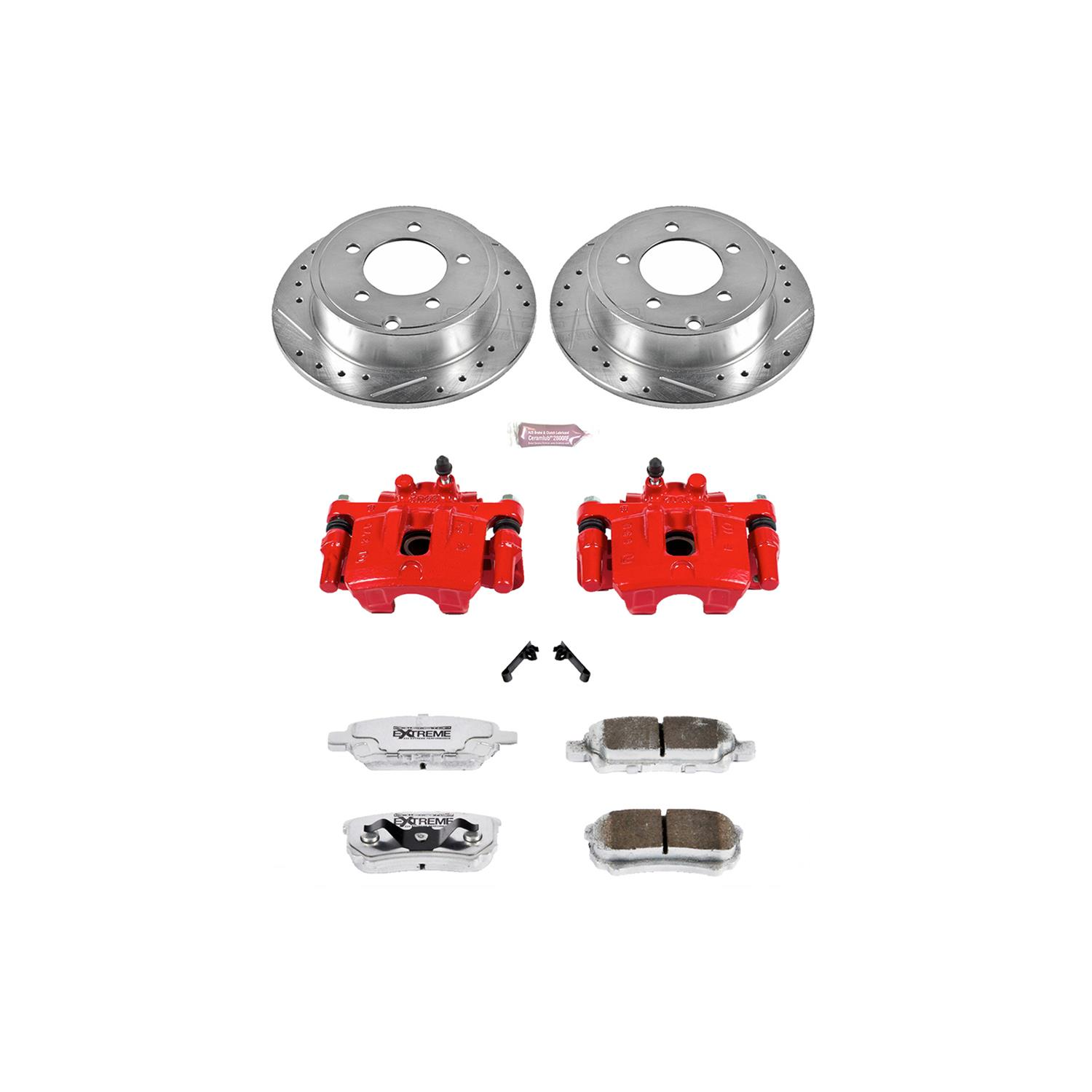 Power Stop K3033 Rear Ceramic Brake Pad and Cross Drilled//Slotted Combo Rotor One-Click Brake Kit