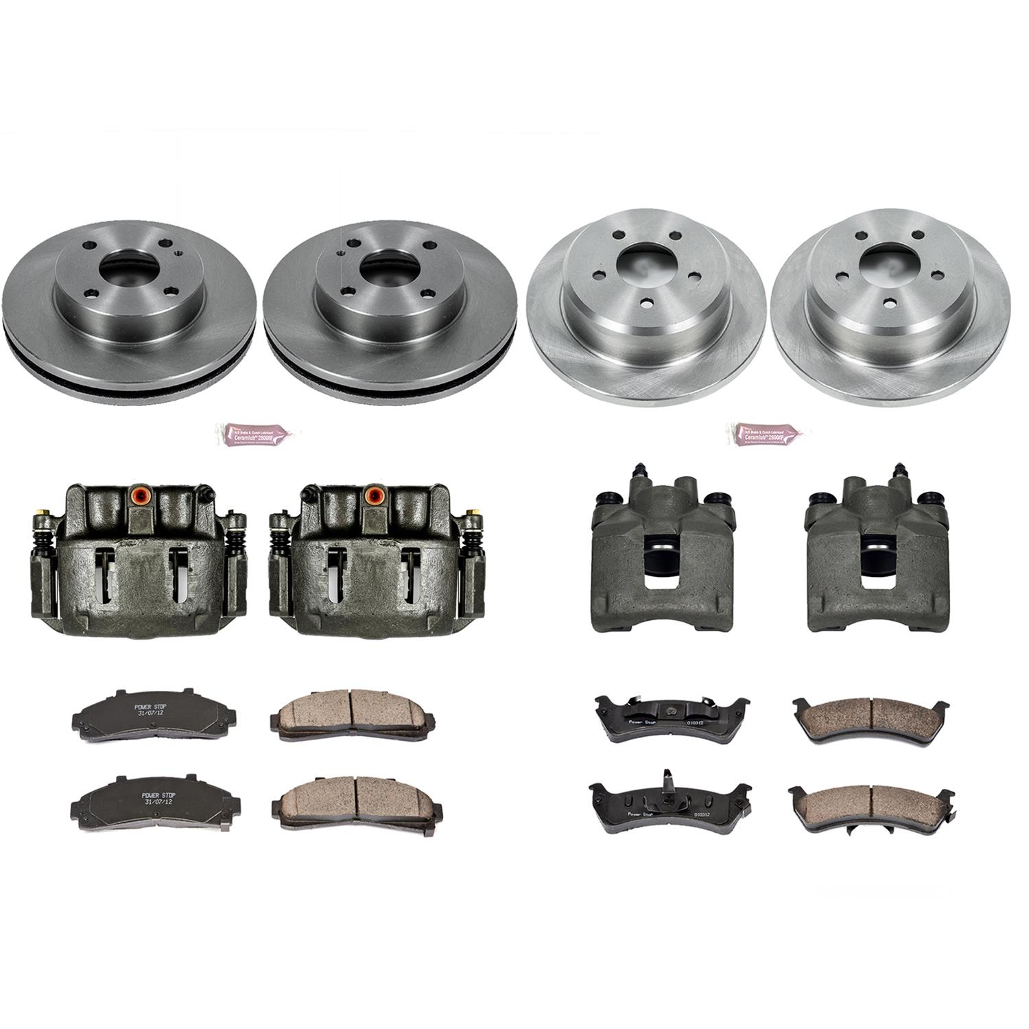 Power Stop KC1861 Front and Rear Z23 Evolution Sport Brake Kit with Calipers