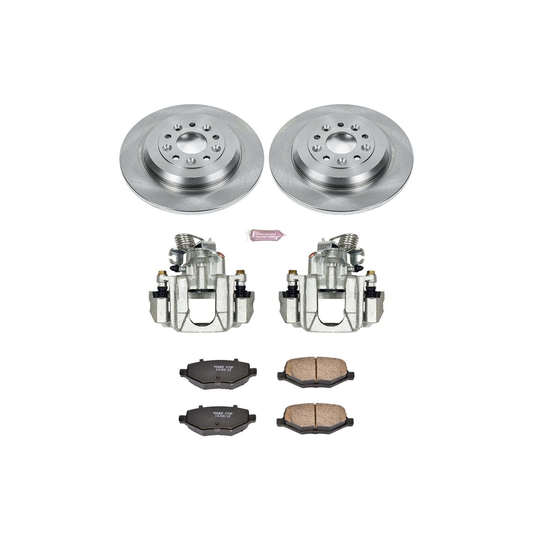 Ceramic Pads Power Stop Autospeciality KCOE4744 Rear Kit Rotors Brake Calipers