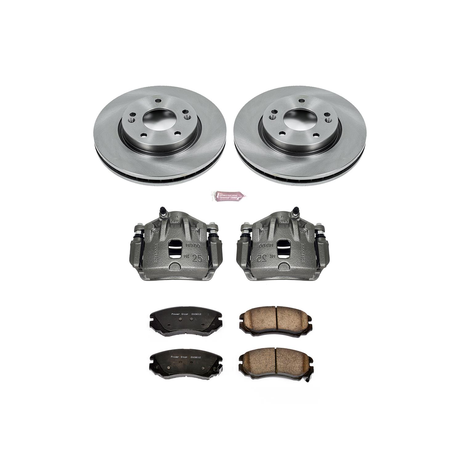 with Calipers Power Stop KCOE5248 Rear Stock Replacement Brake Kit