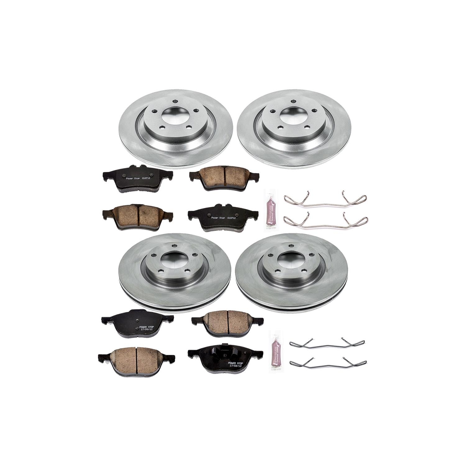 Power Stop KOE7235 Front and Rear Stock Replacement Brake Kit