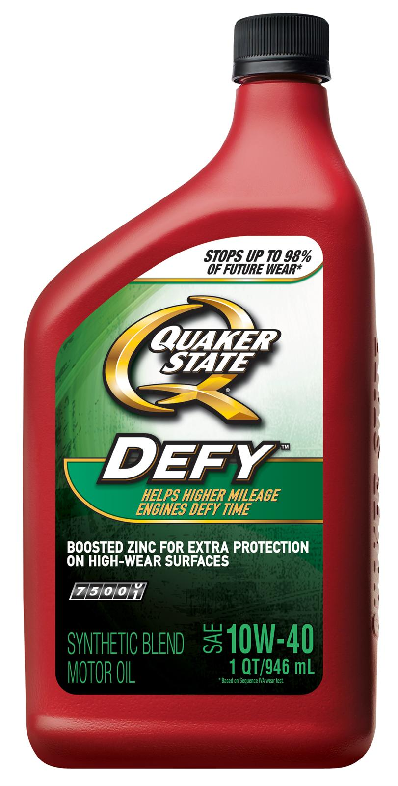 Quaker state motor oil quaker state defy semi synthetic for Synthetic vs non synthetic motor oil