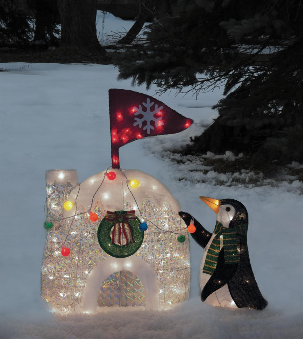 penguin and igloo tinsel light display 216 1411 0 free shipping on orders over 99 at summit. Black Bedroom Furniture Sets. Home Design Ideas