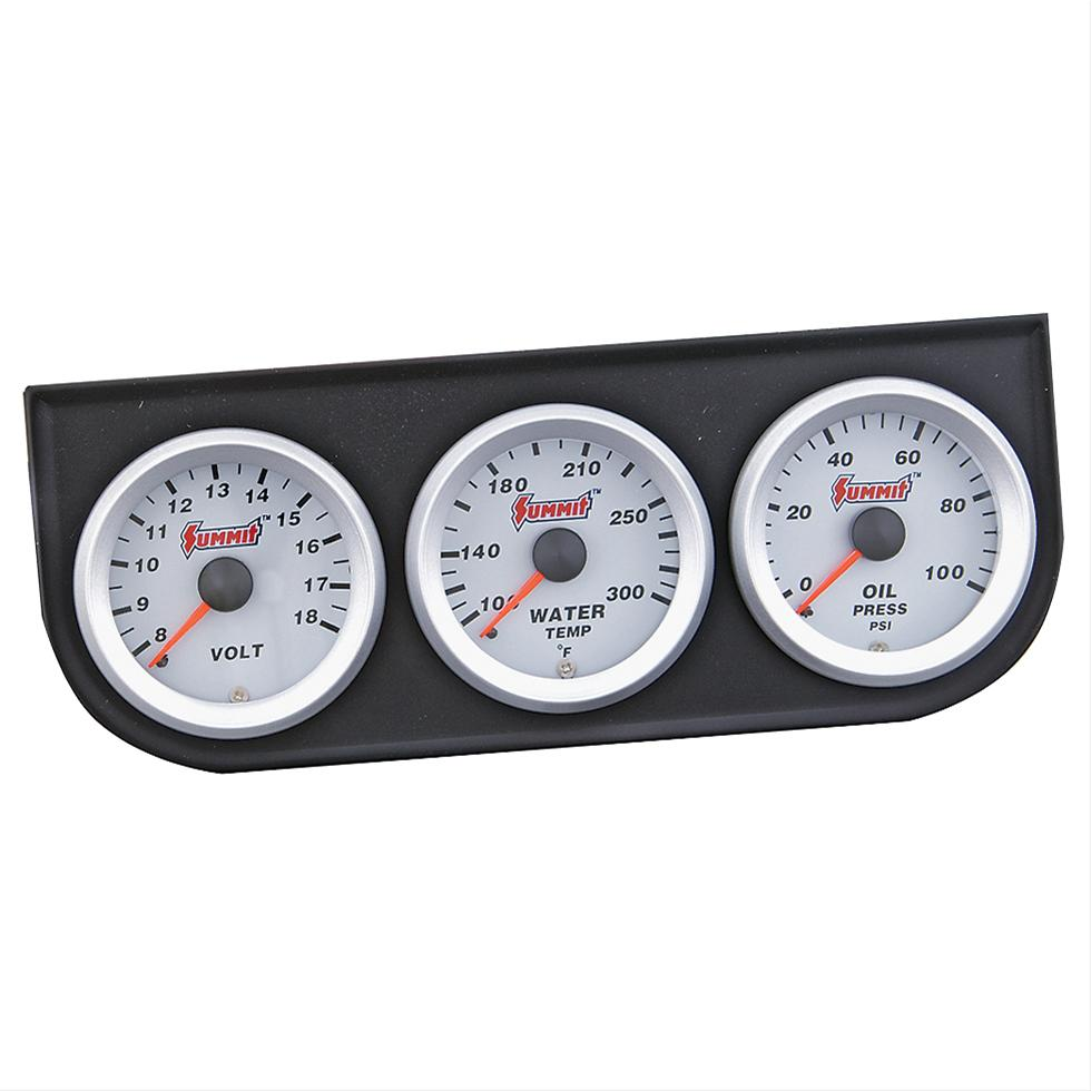 Electronic Voltmeter Gauges Oil And Water : Summit gauge kit analog silver quot oil psi water